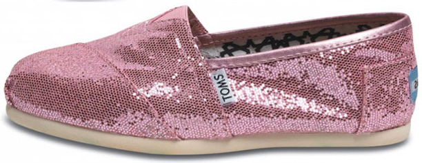 TOMS Women's Pink Glitter Classic Shoes