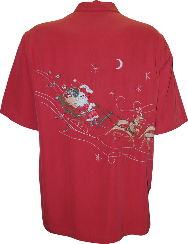 Tori Richard Night Rider Embroidered Christmas Camp Shirt