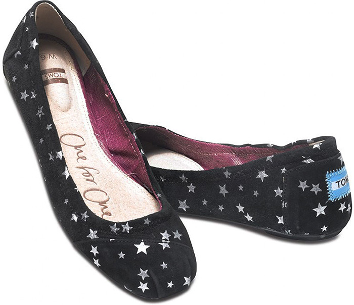 TOMS Womens Black Suede Stars Ballet Flat Shoes - Free Shipping and Gift  with Purchase 249b96c2b2