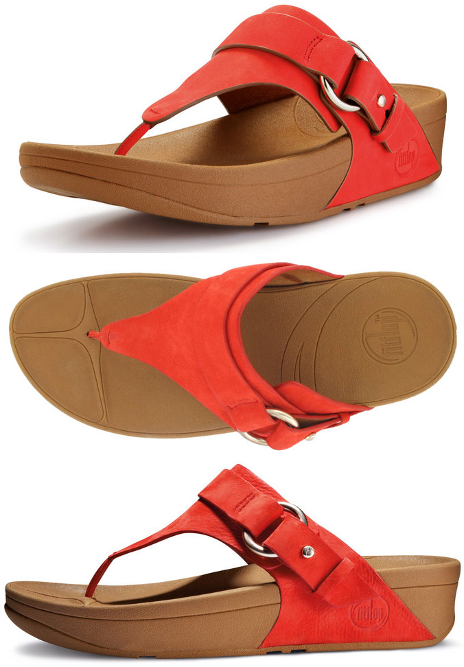 3cf14ed36 FitFlop Via Sandals in Flame in Size 5 Only