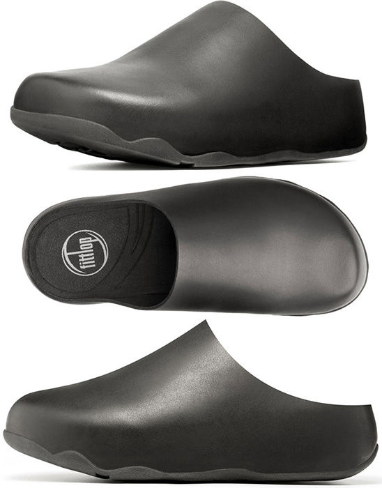 338f67b41013 FitFlop Shuv Leather Clogs in Black