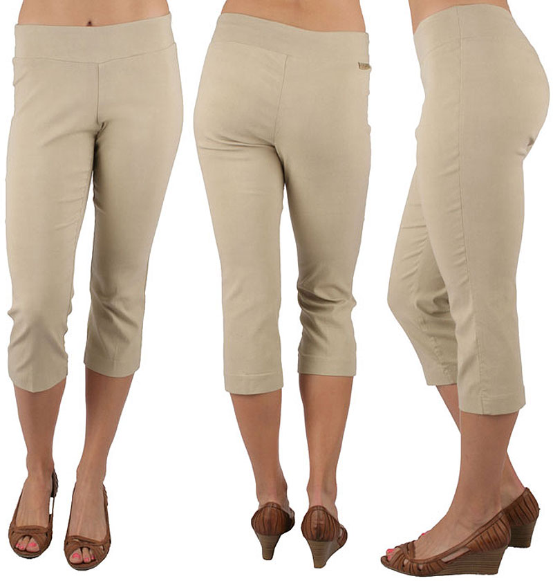 Ethyl Pull-on Stretch Capri Tan - Island Trends