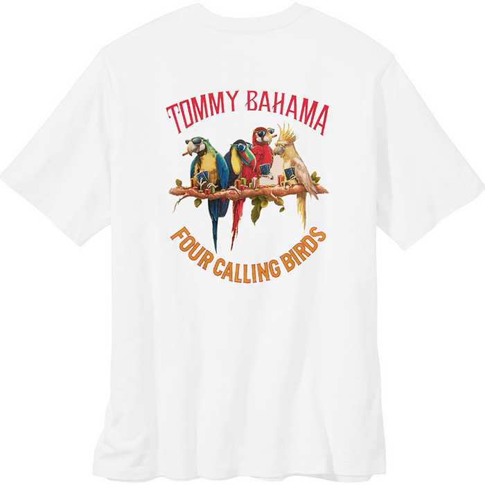 White Big Tall Four Calling Birds Tommy Bahama T Shirt