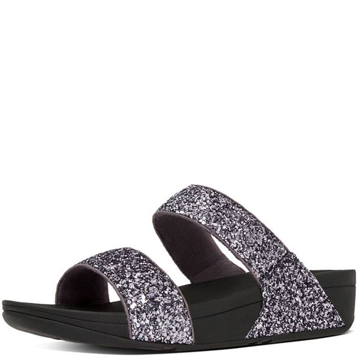 c0a68d7591cdc1 FitFlop Glitterball Slide Sandals - Pewter