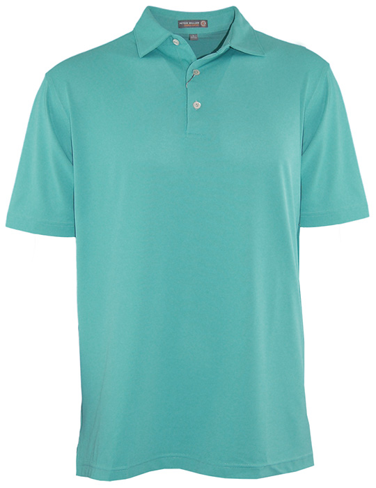 Peter millar solid polo shirt in pickle for Peter millar women s golf shirts