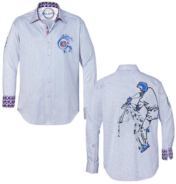 buy online 04953 b2cbf Robert Graham Cubs Embroidered MLB Sport Shirt Blue
