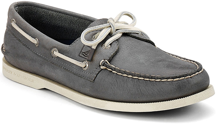 Sperry Top Sider Men's AandO 2 Eye Burnished Boat Shoe in Dark Grey