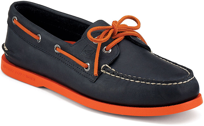 17a37da674 Sperry Top Sider Men s AandO 2 Eye Neon Boat Shoe in NavyandOrange