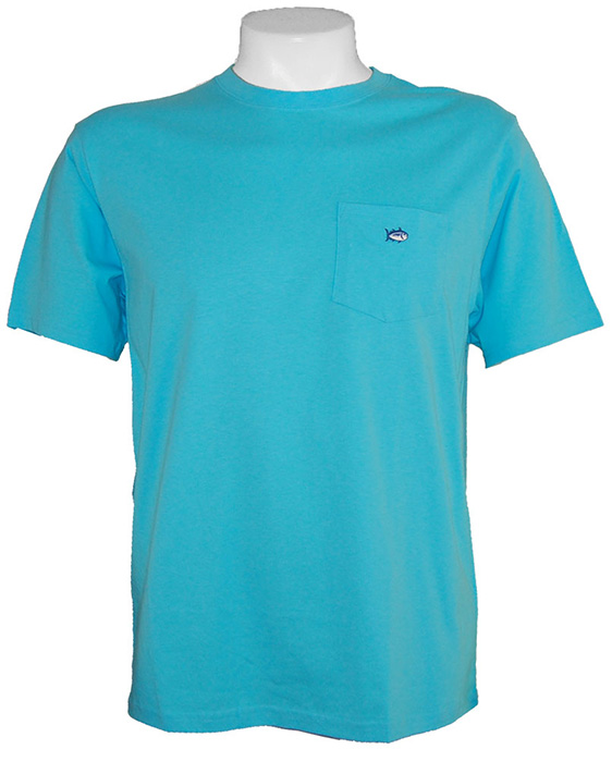 Southern tide embroidered pocket t shirt in ocean blue for Ocean blue t shirt