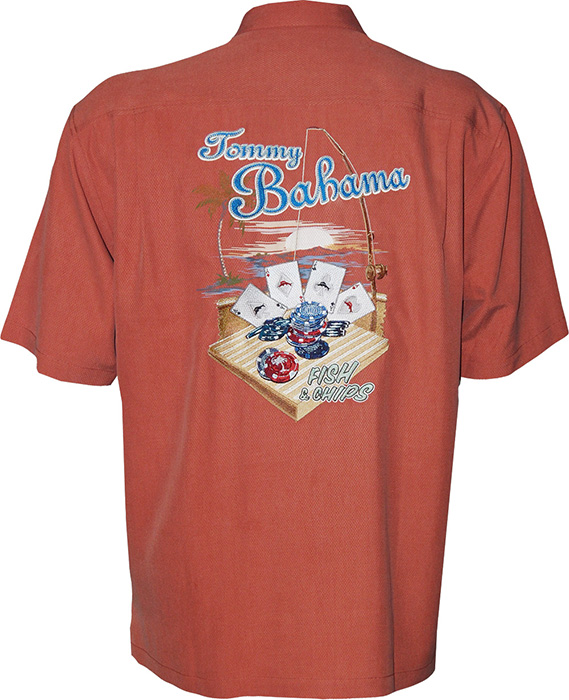 Tommy bahama fish chips signature camp shirt tommy for Shirts with graphics on the back