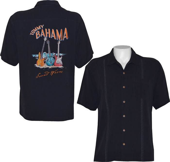 Tommy bahama mens sound waves camp shirt black tommy for Where to buy tommy bahama shirts