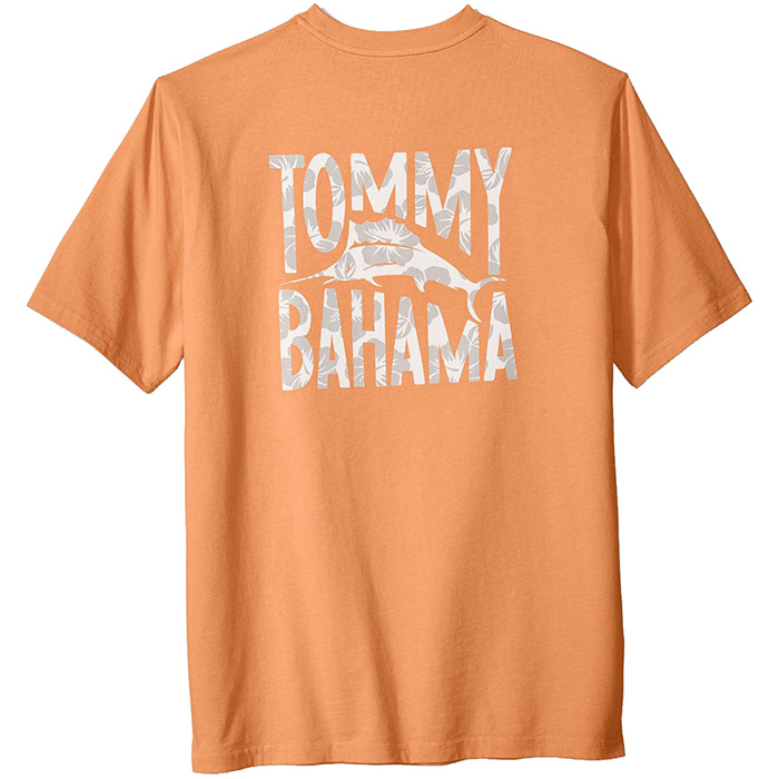 Tommy Bahama Men/'s T-Shirt Bright Apricot Floral Graphic Cotton NEW