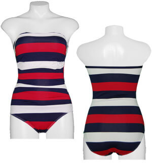c9e3cea47df51 Tommy Bahama Mare Rugby Stripe Bandeau Swimsuit Crimson - FREE SHIPPING  With Minimum Purchase - Tommy Bahama Sale
